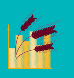 Flat shading style icon wheat infographics vector