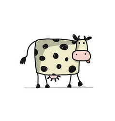 funny cow sketch for your design vector image