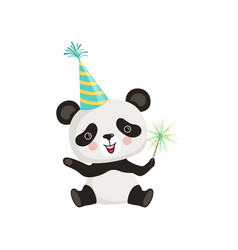 funny little panda sitting on floor and holding vector image