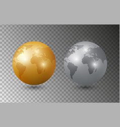 gold silver earth 3d earth planet models vector image