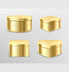 golden gift tin boxes for tea coffee or sweets vector image