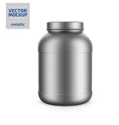 Gray metallic plastic protein jar mockup vector