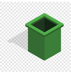 green trash bin isometric icon vector image