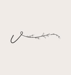 Hand drawn floral v monogram and logo vector