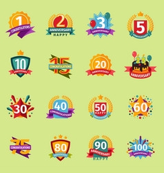 Happy birthday anniversary numbers badge vector