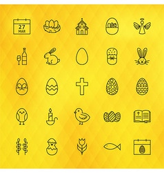 Happy Easter Line Icons Set over Polygonal vector image
