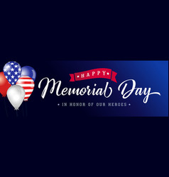 happy memorial day blue poster usa with balloons vector image