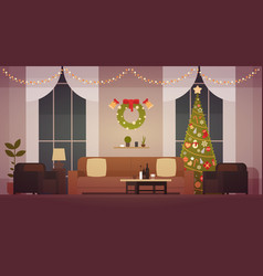 home christmas interior with pine tree living vector image