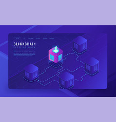 isometric blockchain cryptocurrency and data vector image