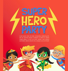 Joyous multiracial kids in super hero outfit and vector