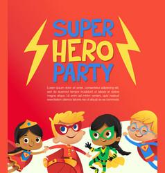 joyous multiracial kids in super hero outfit vector image
