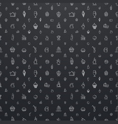 large seamless black pattern with white elements vector image