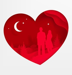Lovers in a Love Heart vector