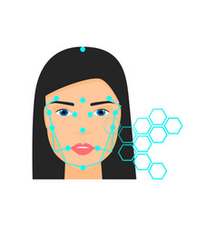 modern biometric futuristic face recognition vector image