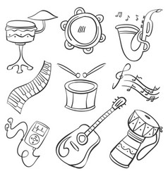 Musical instrument doodle style collection vector