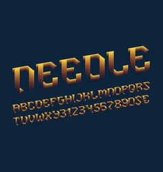 needle letters with numbers and currency signs vector image