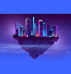Night neon megapolis on soaring island vector
