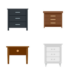 Nightstand bedside icons set flat style vector