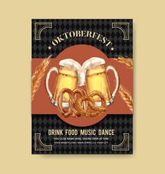 Oktoberfest poster with beer barley pretzel vector