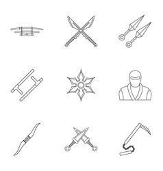 Old weapons icons set outline style vector