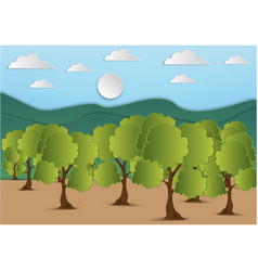 paper art of mountain and tree with green leaf vector image
