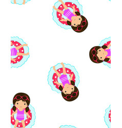 pattern girl swimming lifebuoy vector image