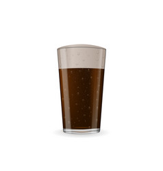 photo-realistic dark beer with foam at glass vector image