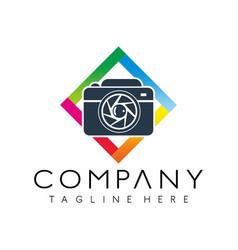 photography camera logo design vector image