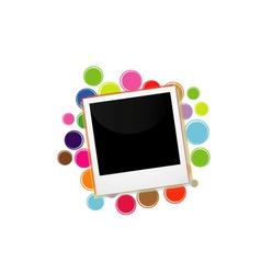 Polaroid on a colorful circles vector