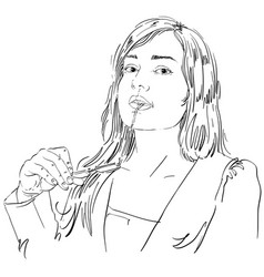 Portrait attractive woman holding her vector