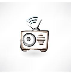 Radio grunge icon vector