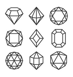 red crystals and gemstones icons set on white vector image