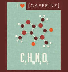 Retro poster of caffeine molecule vector