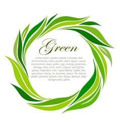 Round frame of stylized green leaf vector image