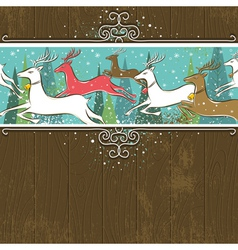 Running christmas deers in the forest vector