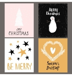Set of four holidays greeting card with hand drawn vector image