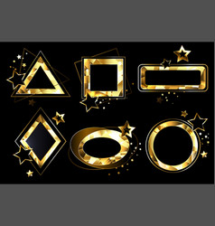Set of polygonal golden banners vector