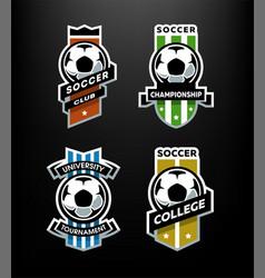Set of soccer football logo emblem on a dark vector