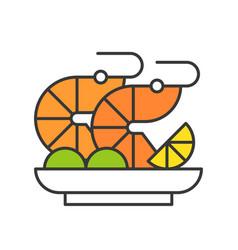 shrimp salad or prawn cocktail seafood food and vector image