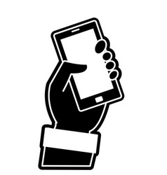 Silhouette hand with smartphone technology object vector