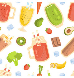 smoothies and ingredients seamless pattern tasty vector image