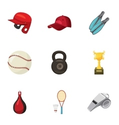 Sport exercise icons set cartoon style vector