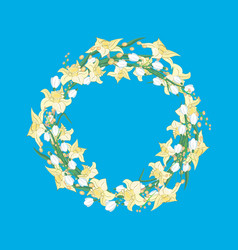 spring wreath of daffodils and snowdrops on blue vector image