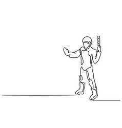 Standing policeman holding stick vector