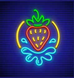 Strawberry neon sign for sex vector