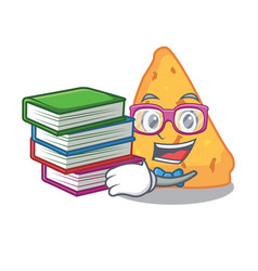 Student with book nachos mascot cartoon style vector