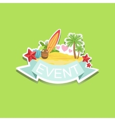 Surfing event template label cute sticker vector