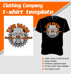 t-shirt template fully editable with pit bull vector image