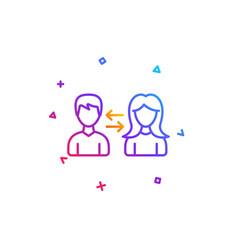 teamwork line icon profile avatar sign vector image