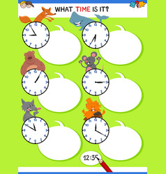 Telling time educational activity with animals vector